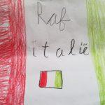 Kindertekening van de Italiaanse vlag, Italië ontdekken