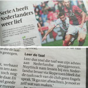 Artikel Volkskrant met vermelding docent Italiaans voor voetballers