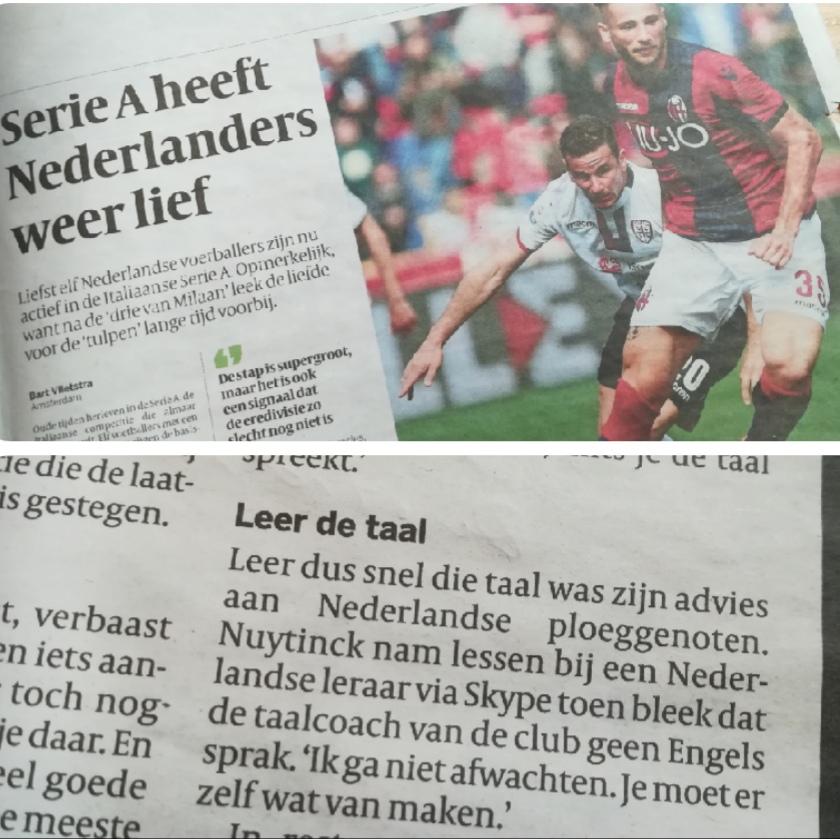 Artikel Volkskrant mert vermelding docent Italiaans voor voetballers