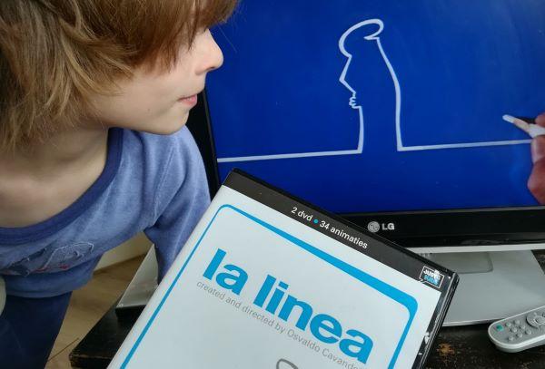 Een screenshot van het tekenfilmpje La Linea