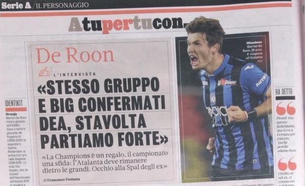 Een paginagroot interview in de Gazzetta dello Sport met de NEderlandse speler Marten de Roon