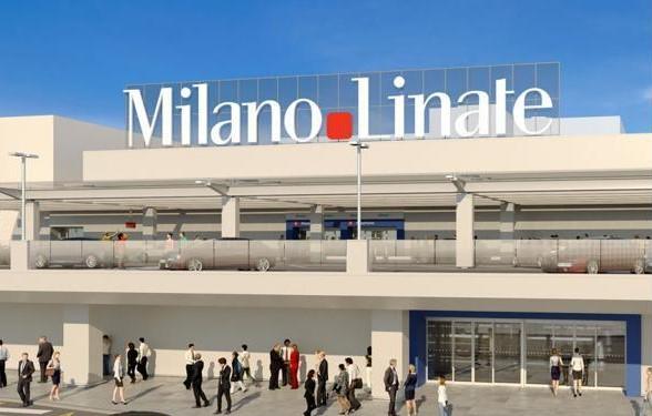 Impressie van een nieuwe facaxde van de Milanese luchthaven Linate