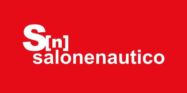 Het logo van de Genoa International Boat Show met de woorden Salone Nautico in wit op een rode achtergrond