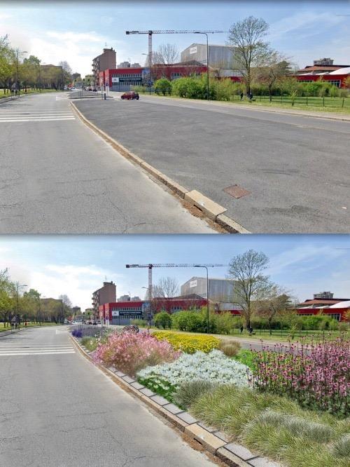 Een middenberm in Milaan: cement en asfalt vóór het ingrijpen, en bloemen planten in de middenberm ná het ingrijpen