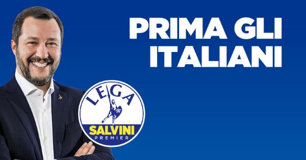 Verkiezingsposter van de Lega met logo, een foto van Salvini en het motto: Italianen eerst
