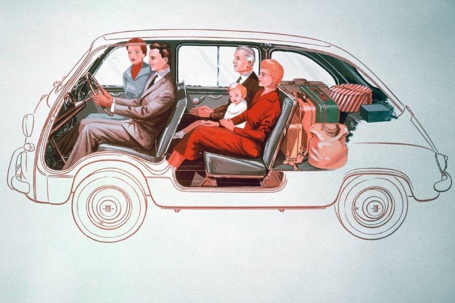 Interieurtekening van de Fiat 600 Multipla