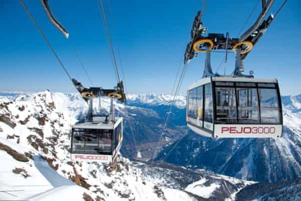 Ski lifts at the Italian Pejo 3000 ski resort