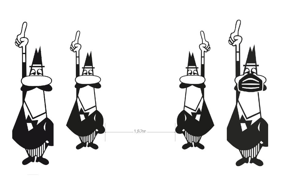 Het logo van Bialetti, het mannetje met snor dat zijn wijsvinger opsteekt om een espresso te bestellen, aangepast aan de corona crisis: met een mondmasker