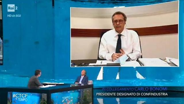 Screenshot van tv-programma Che tempo che fa met als gast Carlo Bonomi