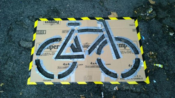 A mold for a painted DIY Bike Lane in Rome