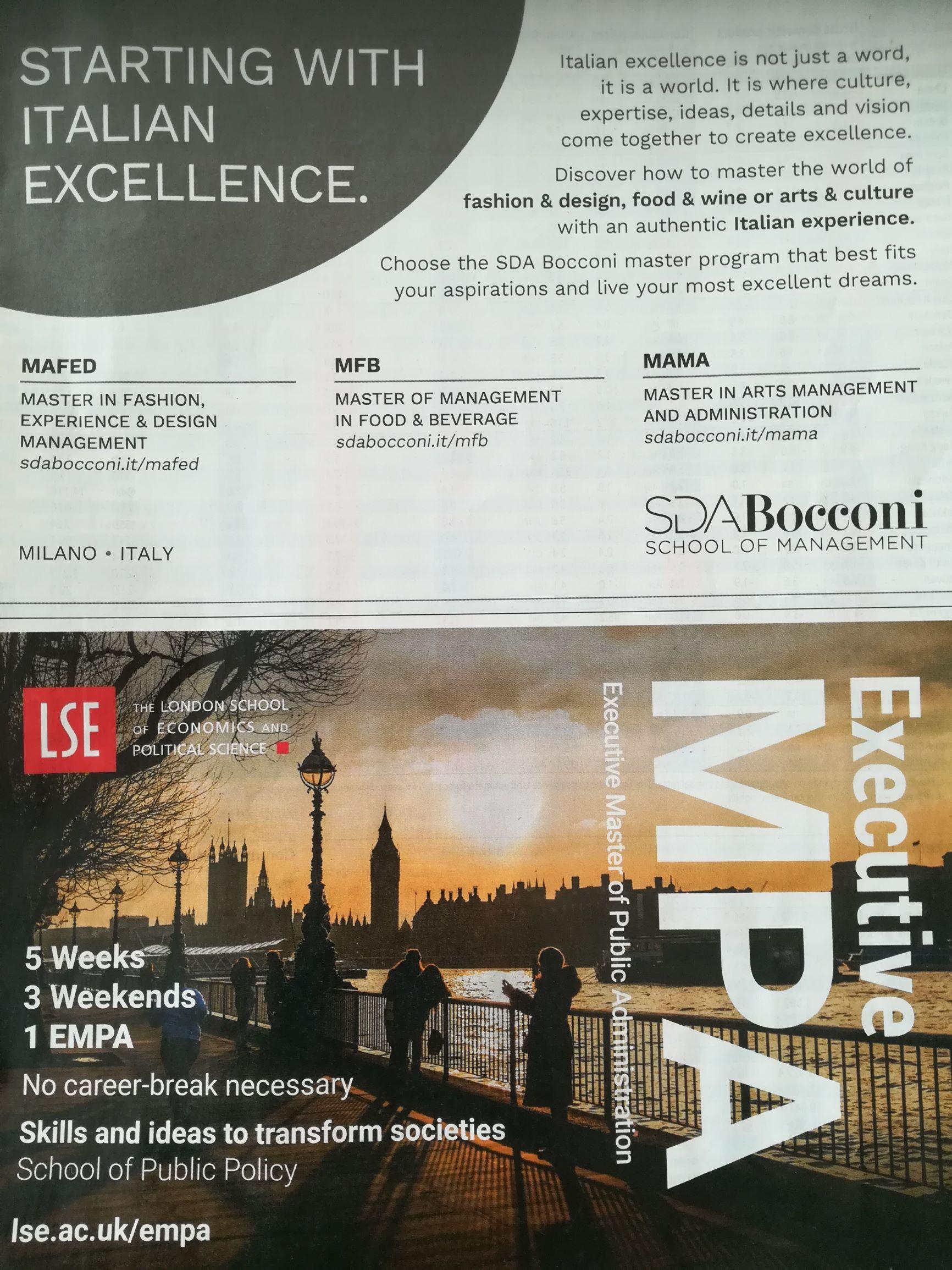 Due pubblicità su una pagina che mostrano differenze e sfide: gli italiani e gli altri