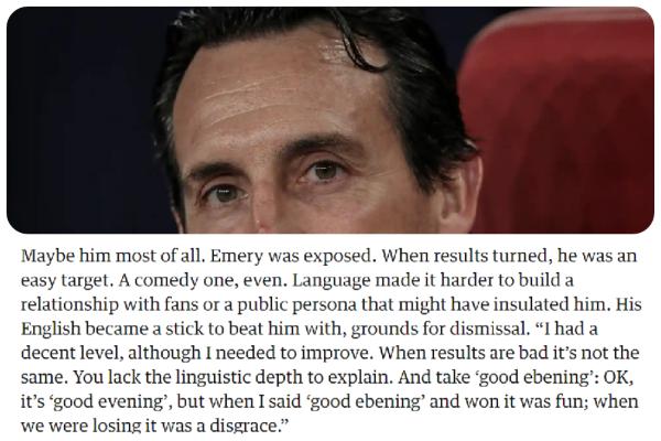 """Hoe een Spaanse topmanager in het Engelse voetbal mikpunt van spot werd door zijn slechte uitspraak van het Engels: """"Good ebening!"""""""